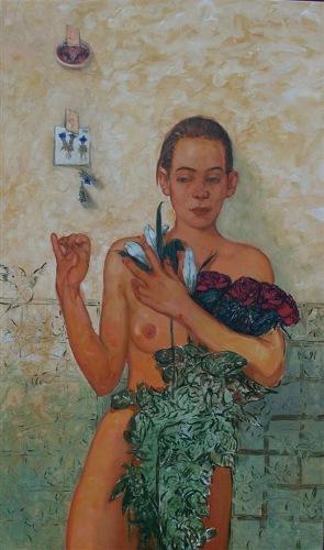 Bruno Griesel, 'Claudia im Rosenhag', Öl auf Leinwand, 2004