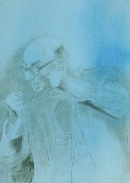 Reinhard Minkewitz, Portraitstudie 'Hans Mayer' für das Bild 'Aufrecht stehen'